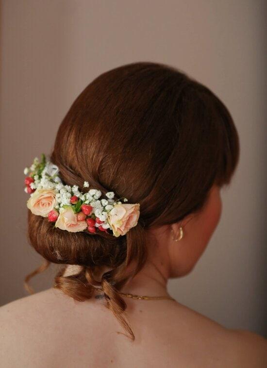 brunetka, fryzurę, włosy, Dziewczyna, kwiat, modelu, Kobieta, twarz, portret, hairpiece