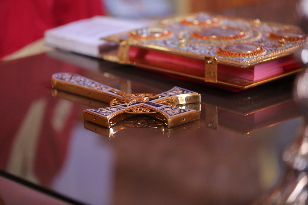 Croce, Oro, fatto a mano, Bibbia, cristianesimo, in casa, gioielli, natura morta, religione, sfocatura