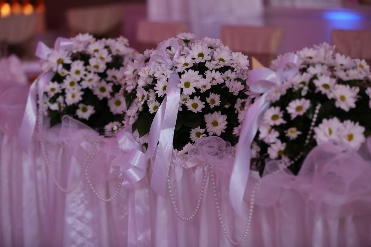 bouquet de mariage, salle de mariage, nappe, table, marguerites, nature, fleur, mariage, amour, flore