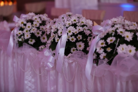 wedding bouquet, wedding venue, tablecloth, table, daisies, nature, flower, wedding, love, flora