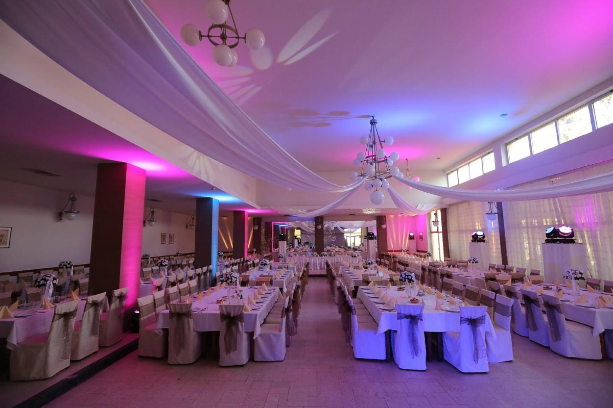 salle de mariage, hôtel, décor, restaurant, Design d'intérieur, décoration d'intérieur, lumières, à l'intérieur, mariage, à manger