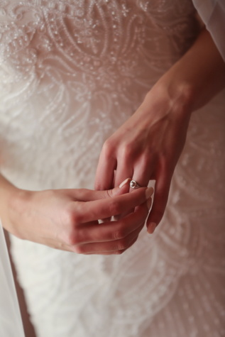 wedding ring, finger, hand, wedding dress, touch, wedding, woman, bride, skin, love