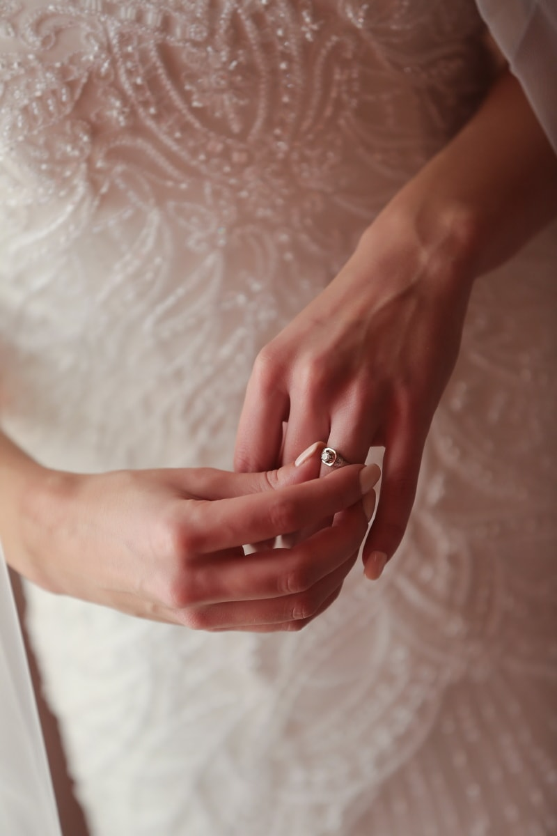 wedding ring, finger, hand, wedding dress, touch, wedding, woman, bride, skin, love