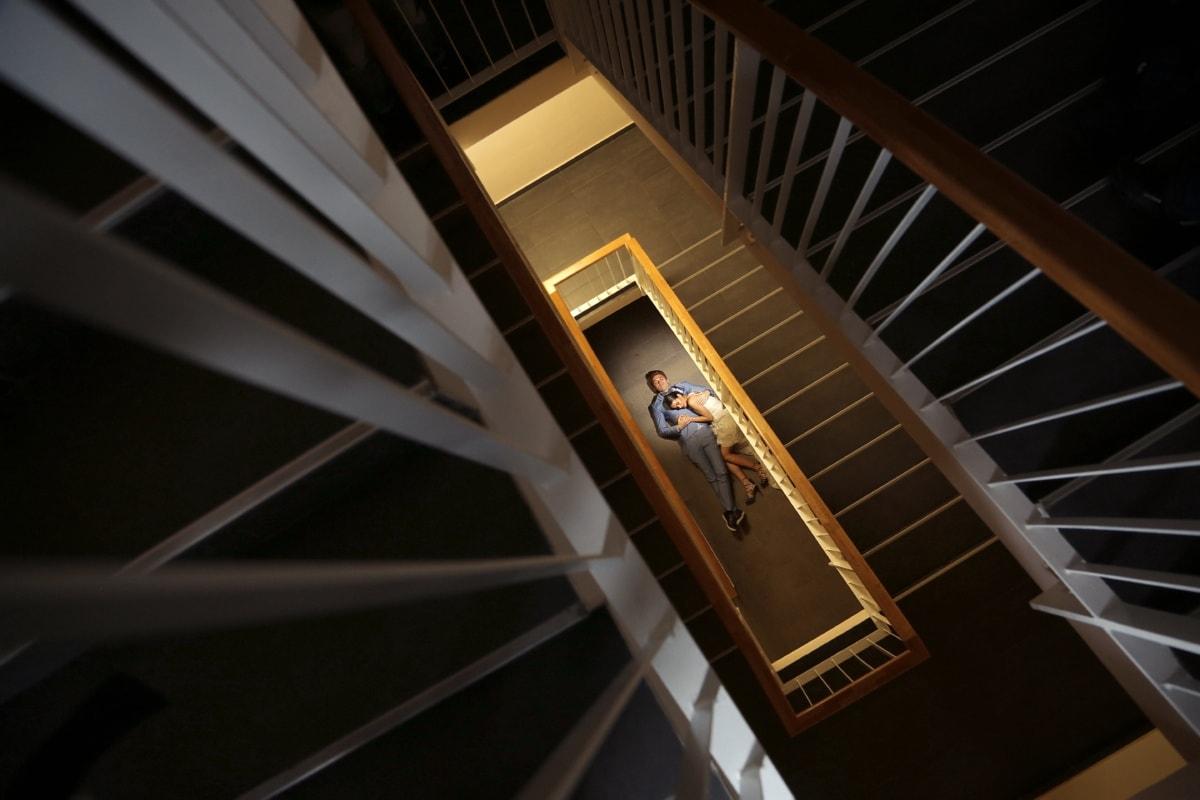petite amie, Création de, à l'intérieur, escalier, ombre, distance, amour, portant, architecture, structure