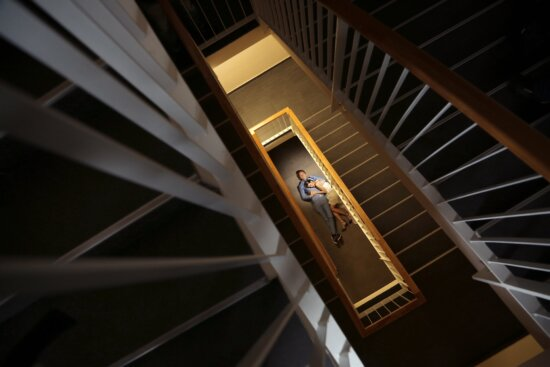 girlfriend, building, inside, staircase, shadow, distance, love, laying, architecture, structure