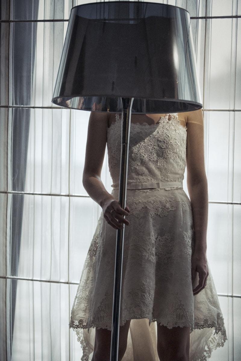 robe, jeune femme, lampe, debout, magasin, mode, femme, modèle, jeune fille, Portrait