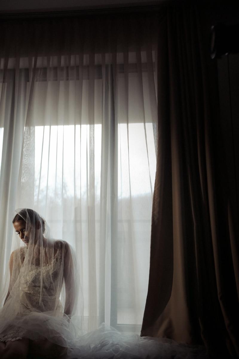 veil, wedding dress, pretty girl, outfit, posing, fashion, curtain, window, backlight, shadow