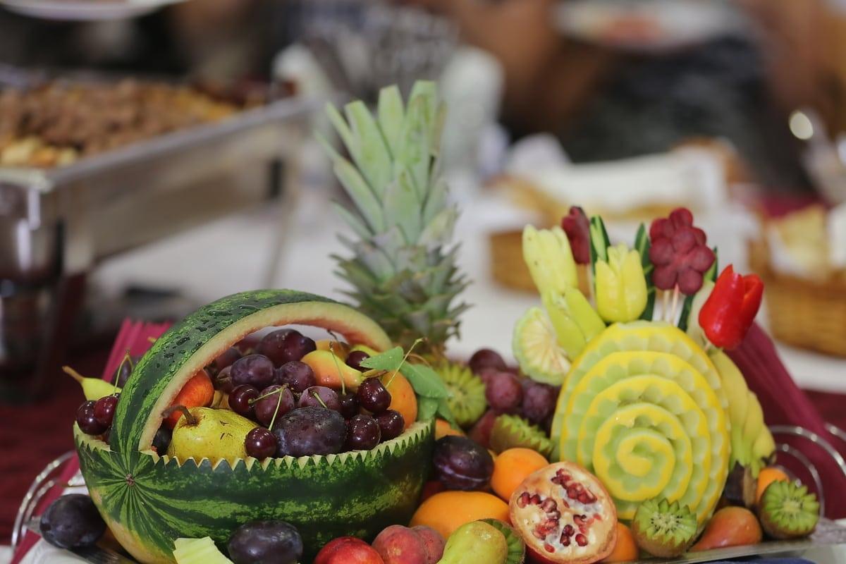 melon d'eau, bar à salade, fruits, des poires, prune, cerises, salade, alimentaire, frais, régime alimentaire
