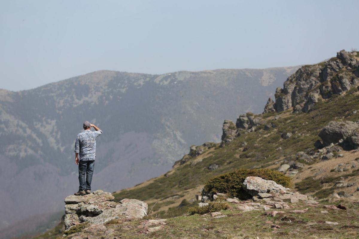 ορειβάτης, ψάχνει, δεσπόζων, ορειβάτης, βουνοπλαγιά, κορυφή βουνού, αλπική, Πεζοπορία, τοπίο, βουνό