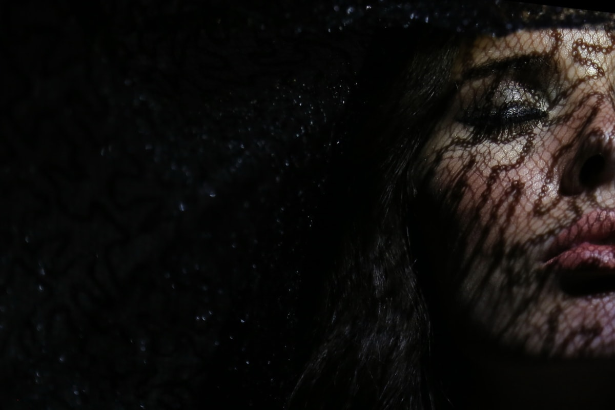 portre, Uyuyan güzel, yakın, kadın, Gölge, karanlık, muhteşem, oldukça, yüz, Tatlı kız
