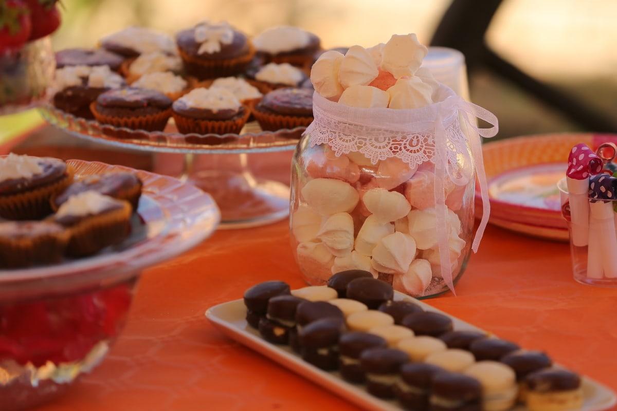 kekse, hausgemachte, Cupcake, Glas, Bonbon, Schokolade, Konditorei, Zucker, Essen, süß