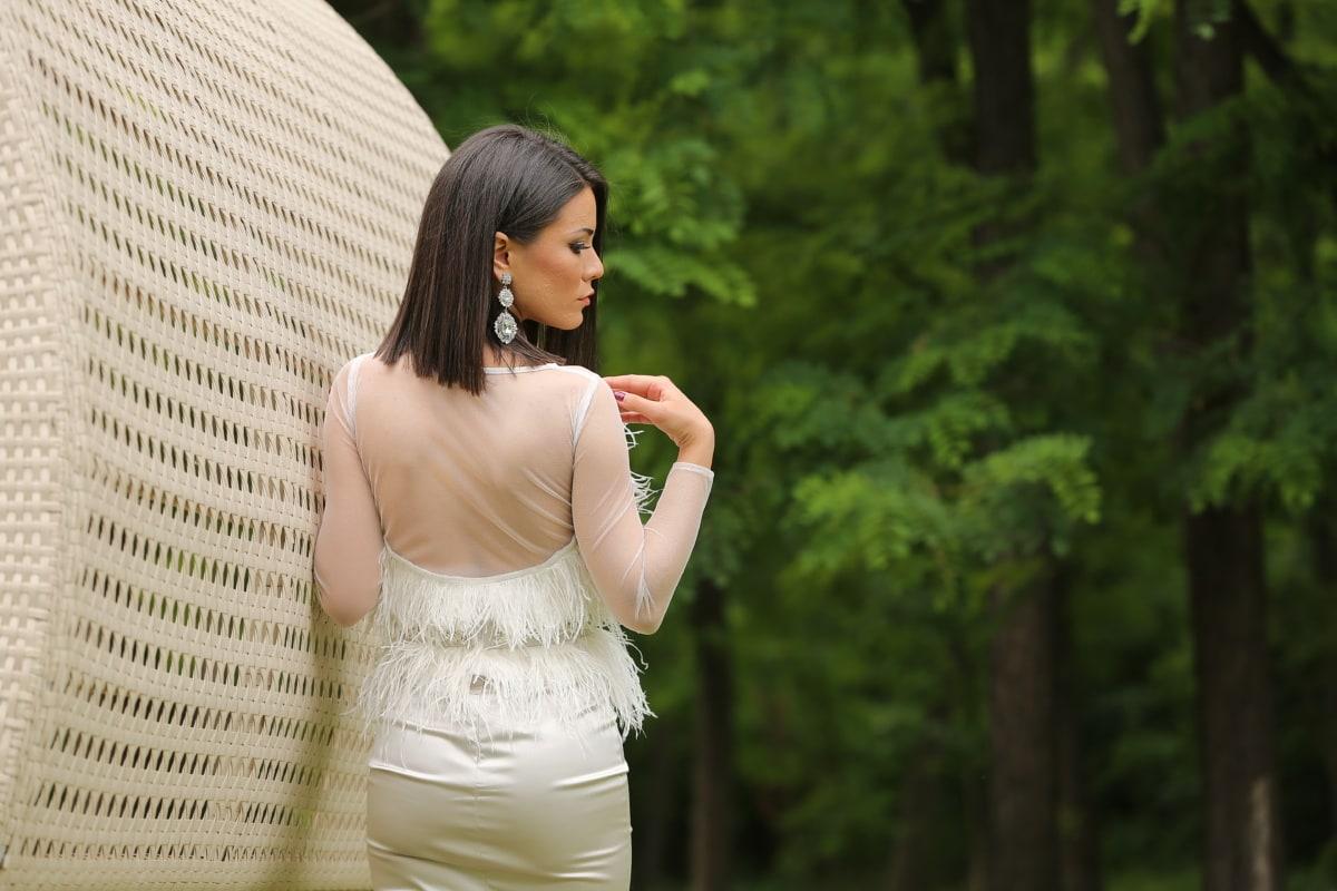 posing, photo model, earrings, dress, shoulder, gorgeous, woman, outdoors, fashion, nature