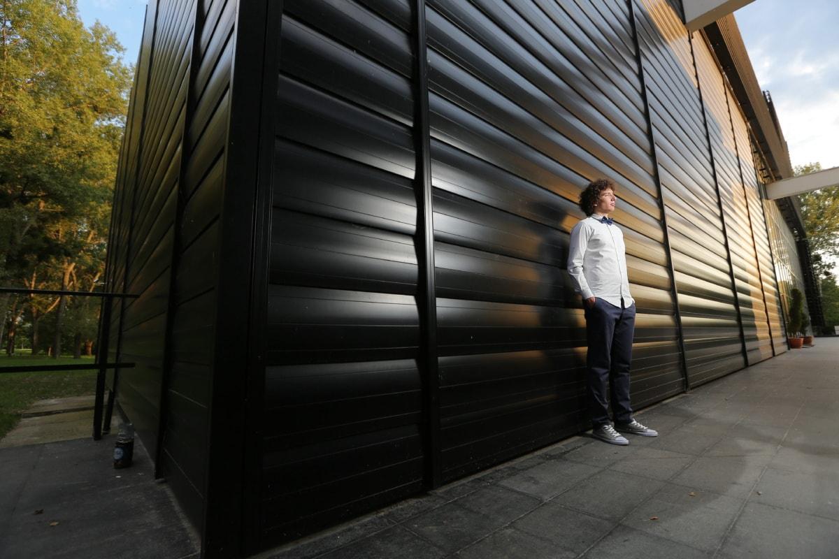 Ecke, Warten Sie, stehende, posiert, Gentleman, Tür, Menschen, Licht, Stadt, Straße
