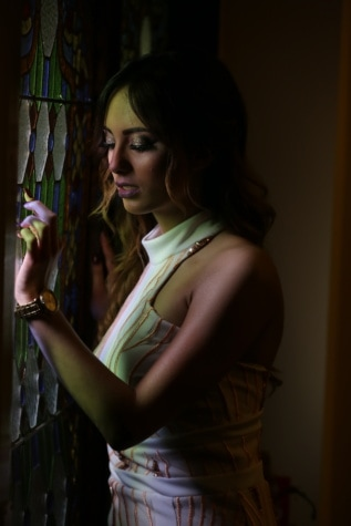 woman, beautiful, window, stained glass, looking, attractive, model, pretty, fashion, brunette