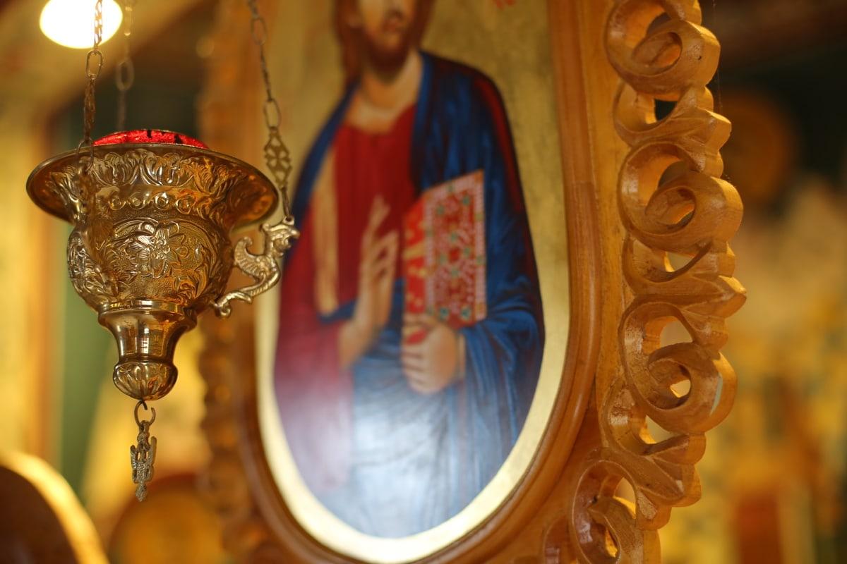 Kristus, kresťanstvo, svätec, pravoslávna, svietnik, náboženstvo, sviečka, okrasné, svietiace, zlatistá žiara