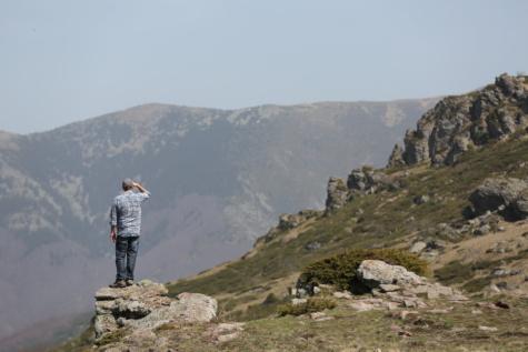 冒险, 爬山, 人, 忽视, 登山, 者, 徒步旅行, 站, 山, 徒步