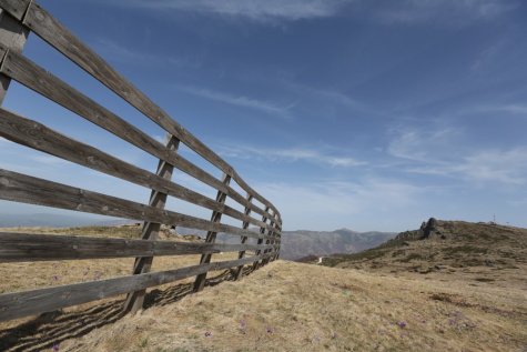 fence, fence line, border, mountain peak, mountainside, hillside, barrier, landscape, scenic, clouds