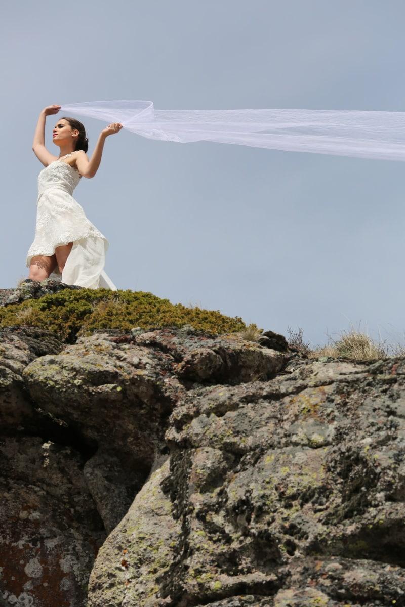 Hochzeitskleid, Hügel, Schleier, junge Frau, Wind, Person, Hochzeit, Natur, im freien, Frau