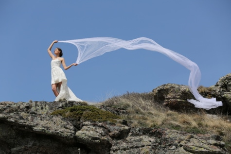 wind, hill, bride, veil, wedding dress, slope, ascent, mountain, wedding, girl
