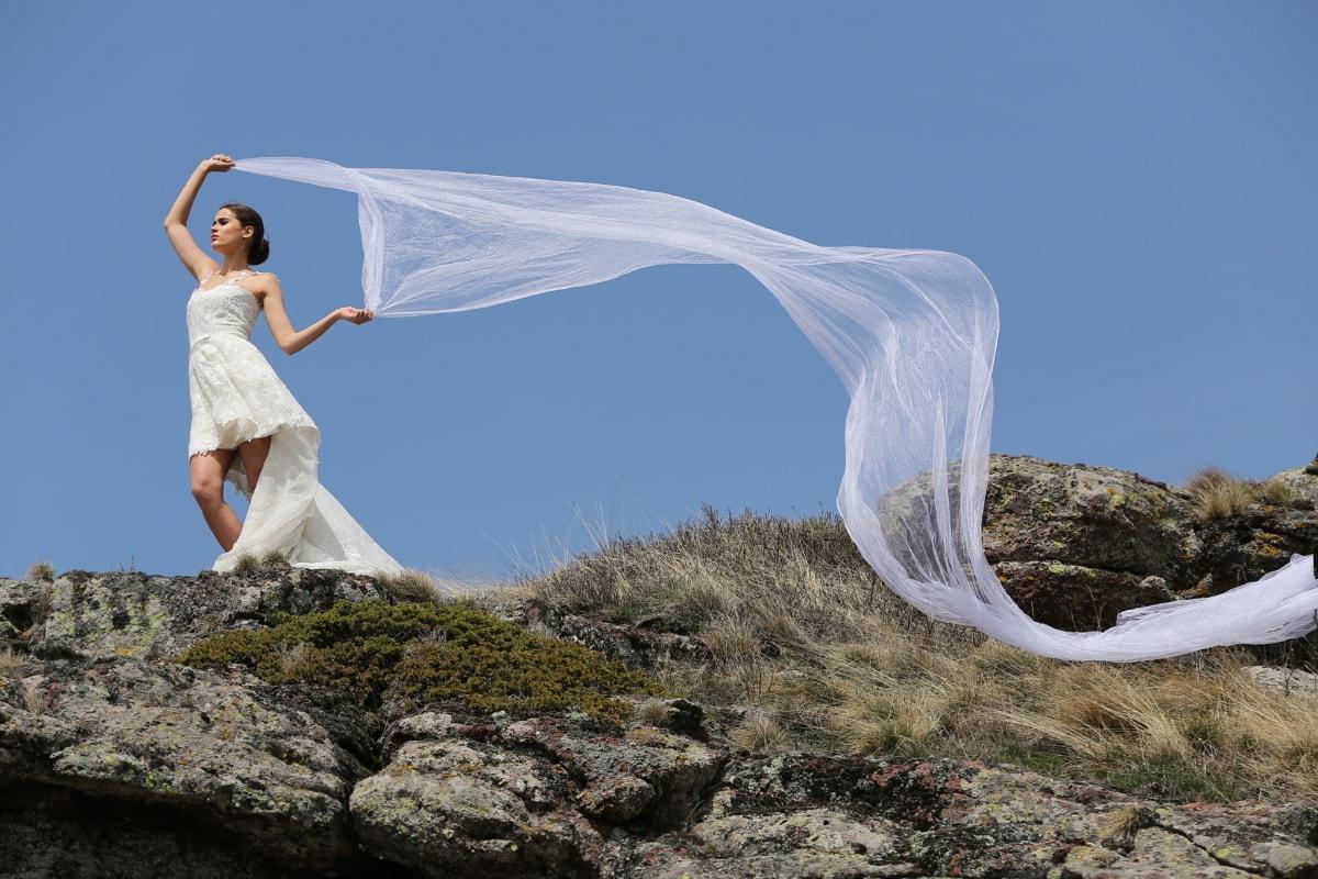 หญิงสาว, งดงาม, ยาว, ม่าน, ชุดแต่งงาน, ลม, งานแต่งงาน, เจ้าสาว, สาว, ความรัก