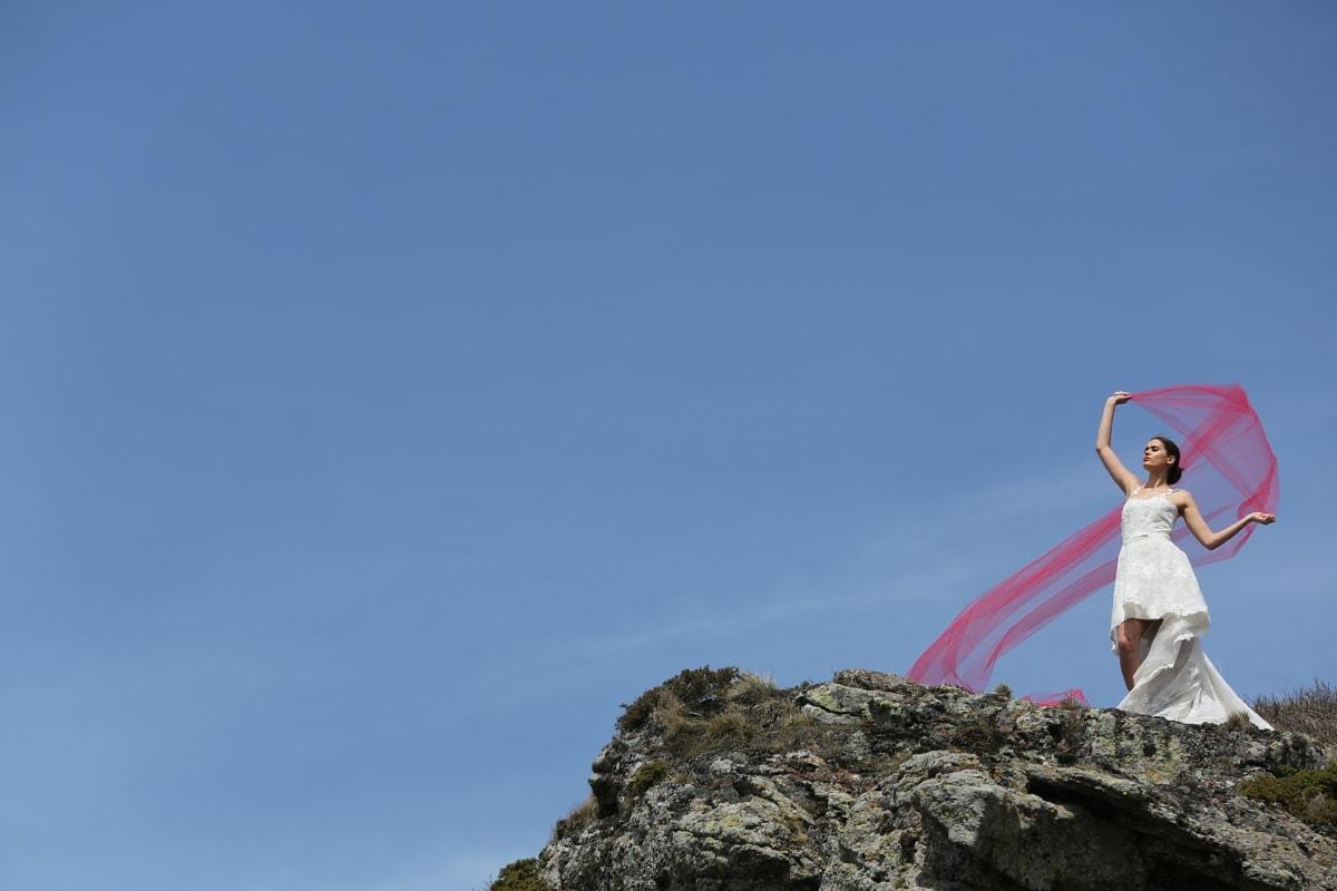 haute terre, Sommet de montagne, la mariée, aventure, bonheur, voile, paysage, Roche, montagne, Pierre