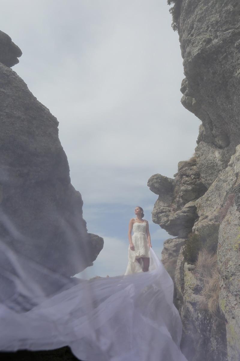 robe de mariée, mariage, photographie, montagnes, nature sauvage, paysage, falaise, Roche, montagne, Pierre
