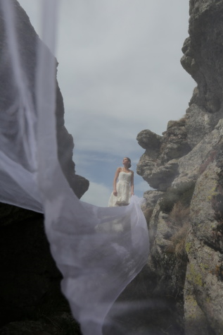bride, cliff, veil, wedding dress, mountain climber, people, woman, landscape, nature, outdoors