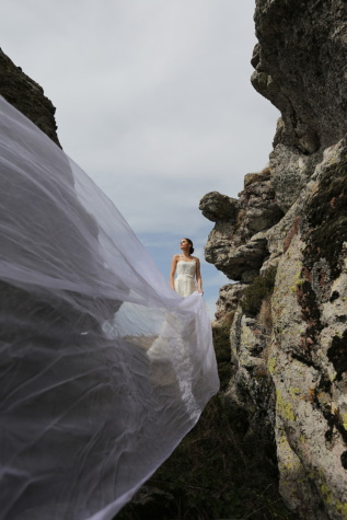 hiking, hiker, woman, wedding dress, veil, bride, landscape, wedding, canyon, mountain