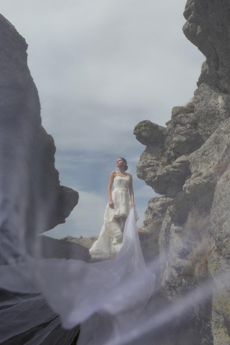 wedding dress, veil, long, fantasy, dream, young woman, pretty girl, wedding, landscape, cliff