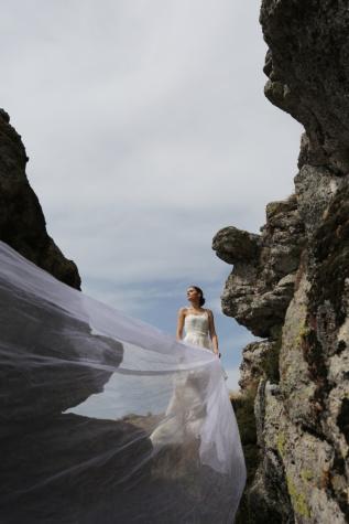 panjang, kerudung, gaun pengantin, pemandangan, batu, tebing, Gunung, ngarai, batu, wisata