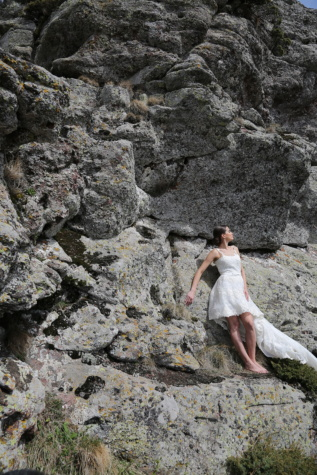 bride, rock climbing, posing, wedding dress, mountain, cliff, rock, nature, outdoors, stone