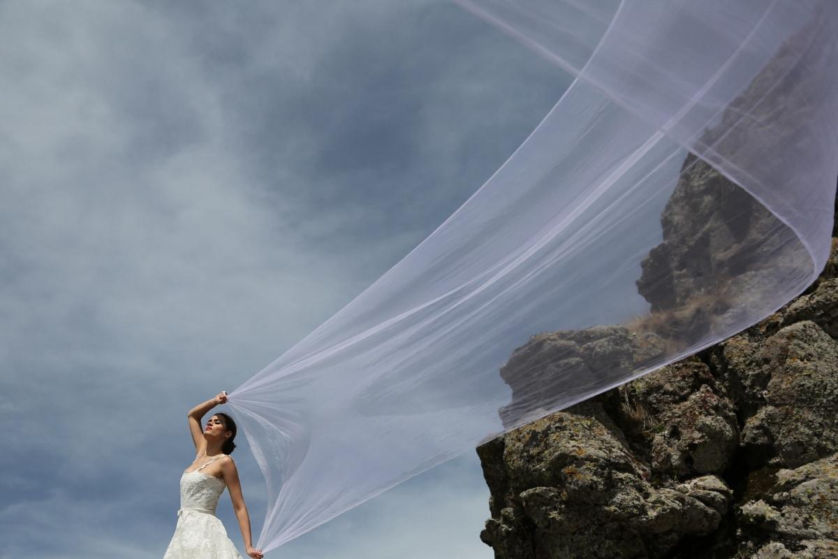 Braut, Sonnenschein, herrlich, Wandern, spektakuläre, Hochzeitskleid, Hochzeit, Mädchen, Frau, Menschen