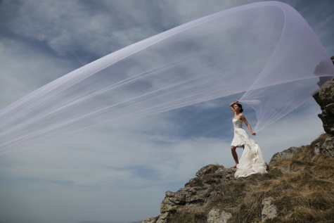 wind, veil, wedding dress, high land, hiker, girl, people, wedding, landscape, mountain