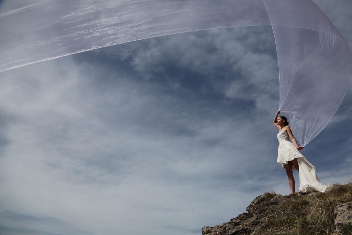 wind, veil, wedding dress, dress, nature, adventure, hiker, mountain, active, parachute
