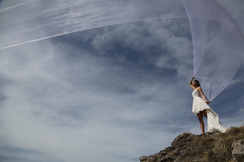 wind, veil, wedding dress, dress, nature, adventure, hiker, mountain, active, parachute
