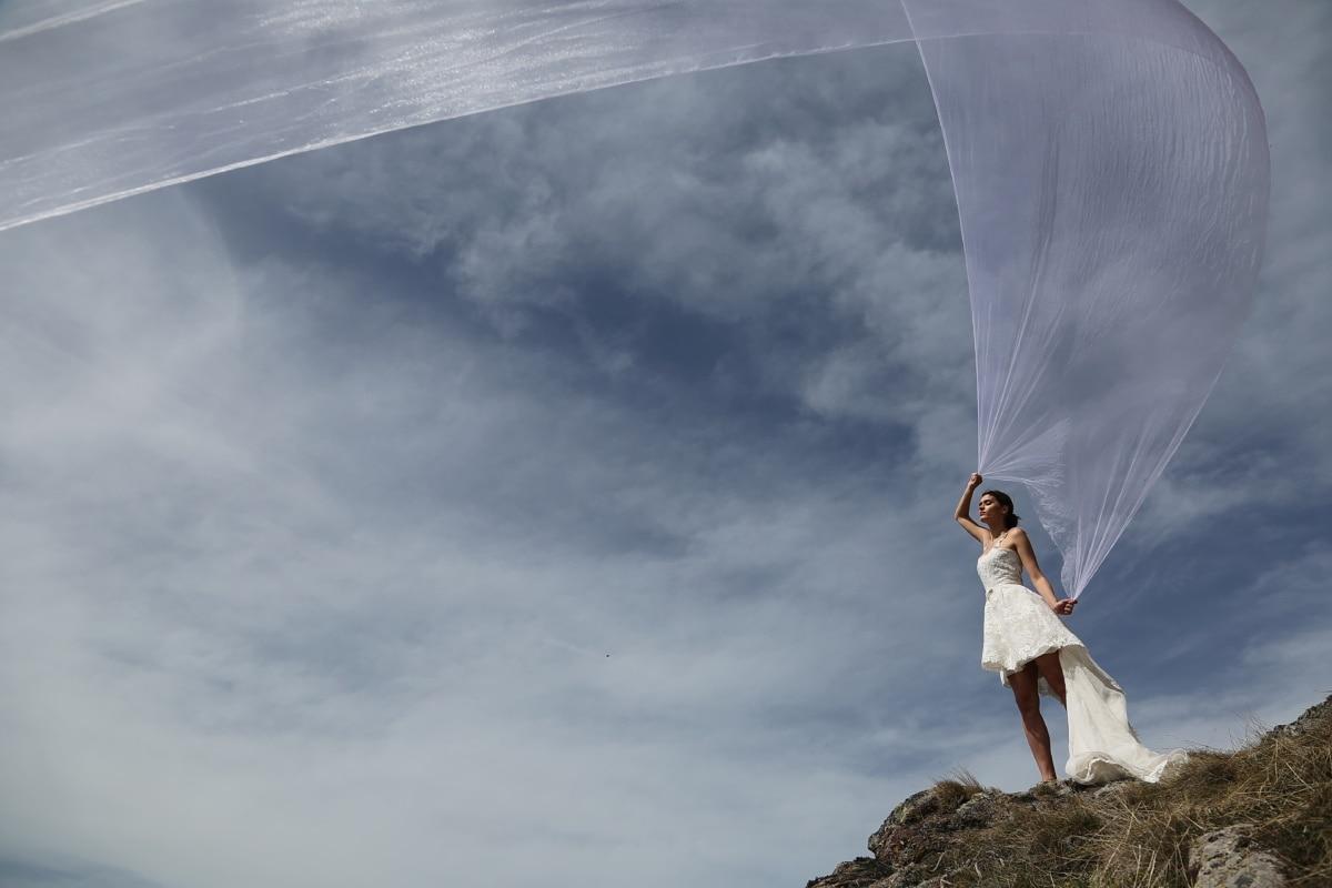 femmes, robe de mariée, voile, vent, tremble, jeune fille, Nuage, paysage, Portrait, air