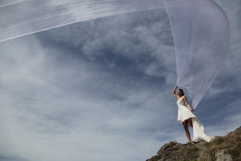 women, wedding dress, veil, wind, aspen, girl, cloud, landscape, portrait, air