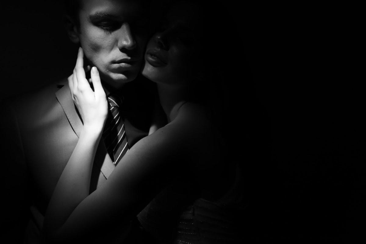 petite amie, amant, petit ami, amour, ombre, cacher, ténèbres, charme, monochrome, homme