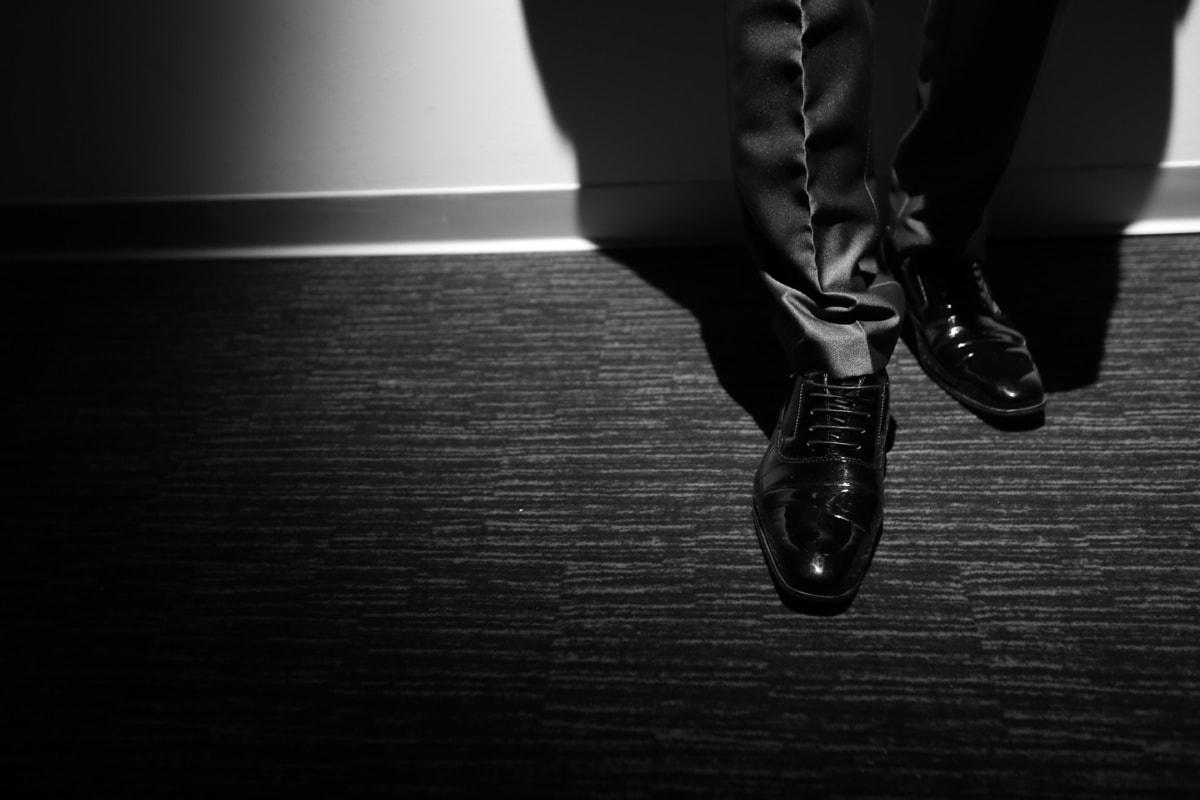 shoes, man, shining, standing, pants, suit, businessman, black and white, cotton, monochrome