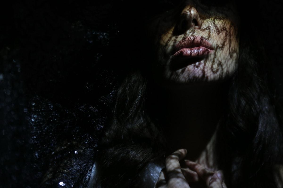 Makyaj, dudaklar, Cilt, ruj, Tatlı kız, kafa, yüz, portre, karanlık, Kız