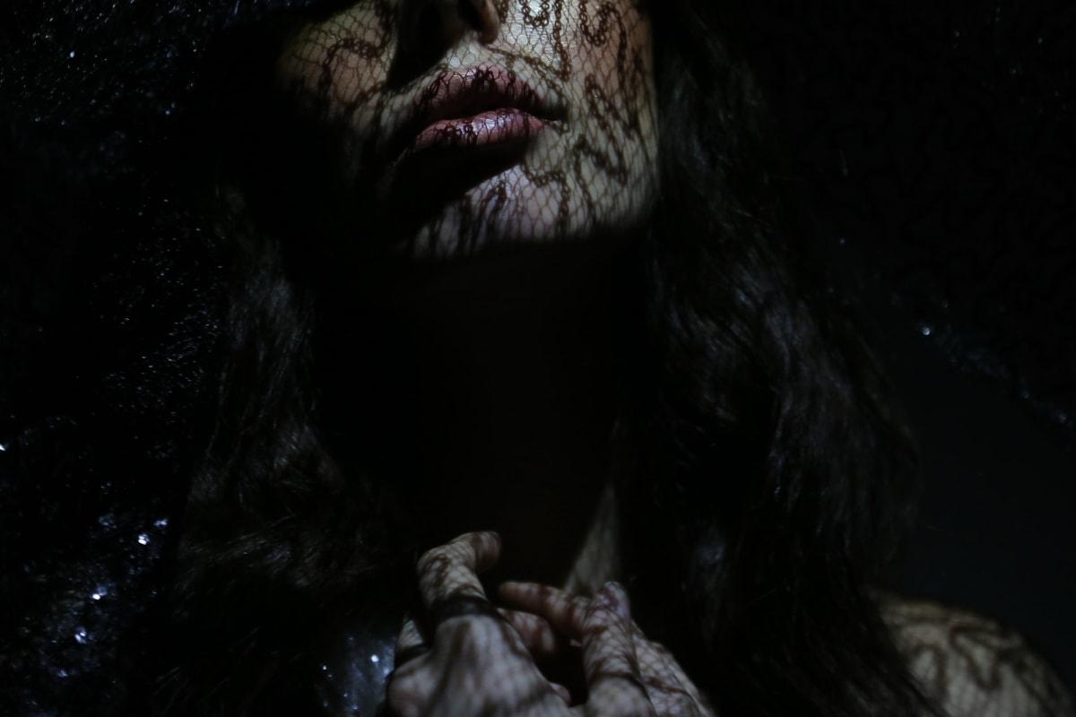 buzele, model de fotografie, întunericul, femeie, ruj, superba, cap, piele, până aproape, portret