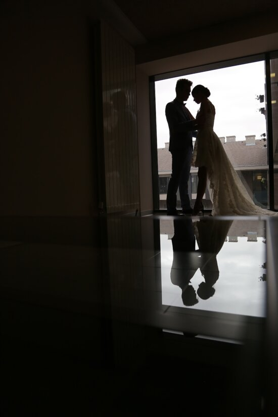 apartment, living room, hotel, man, wedding dress, young woman, suit, silhouette, window, reflection