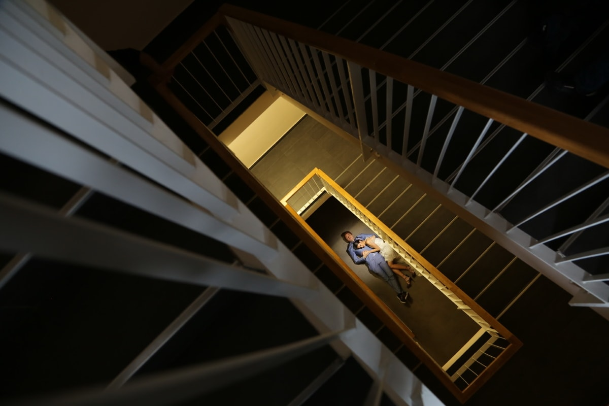 girlfriend, laying, staircase, stairs, boyfriend, hugging, step, structure, building, architecture