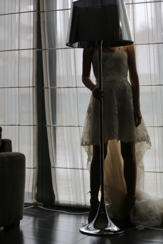 szoknya, vékony, bőr, lábak, esküvői ruha, divat, ablak, modell, nő, emberek