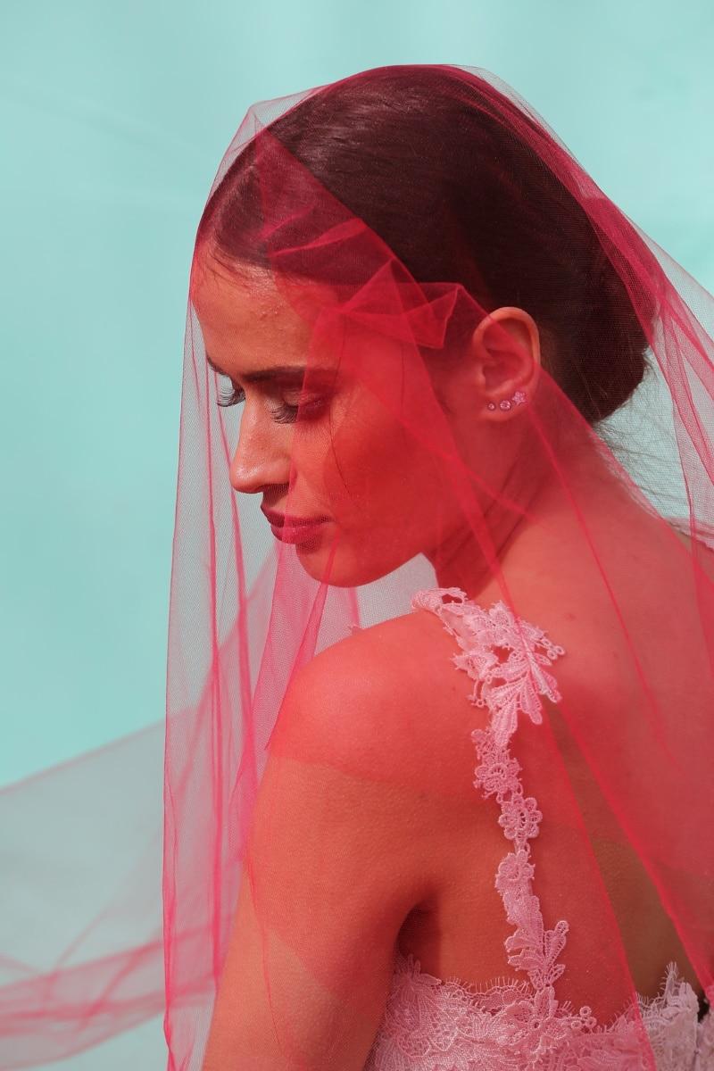 Panna Młoda, sukienka, czerwony, welon, suknia ślubna, mody, Kobieta, Dziewczyna, ślub, portret
