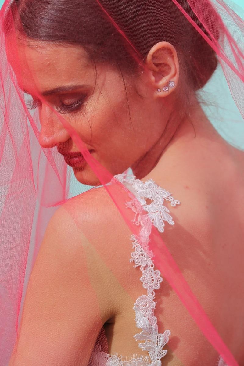 robe de mariée, rouge, voile, la mariée, mode, Portrait, modèle, mariage, belle, femme