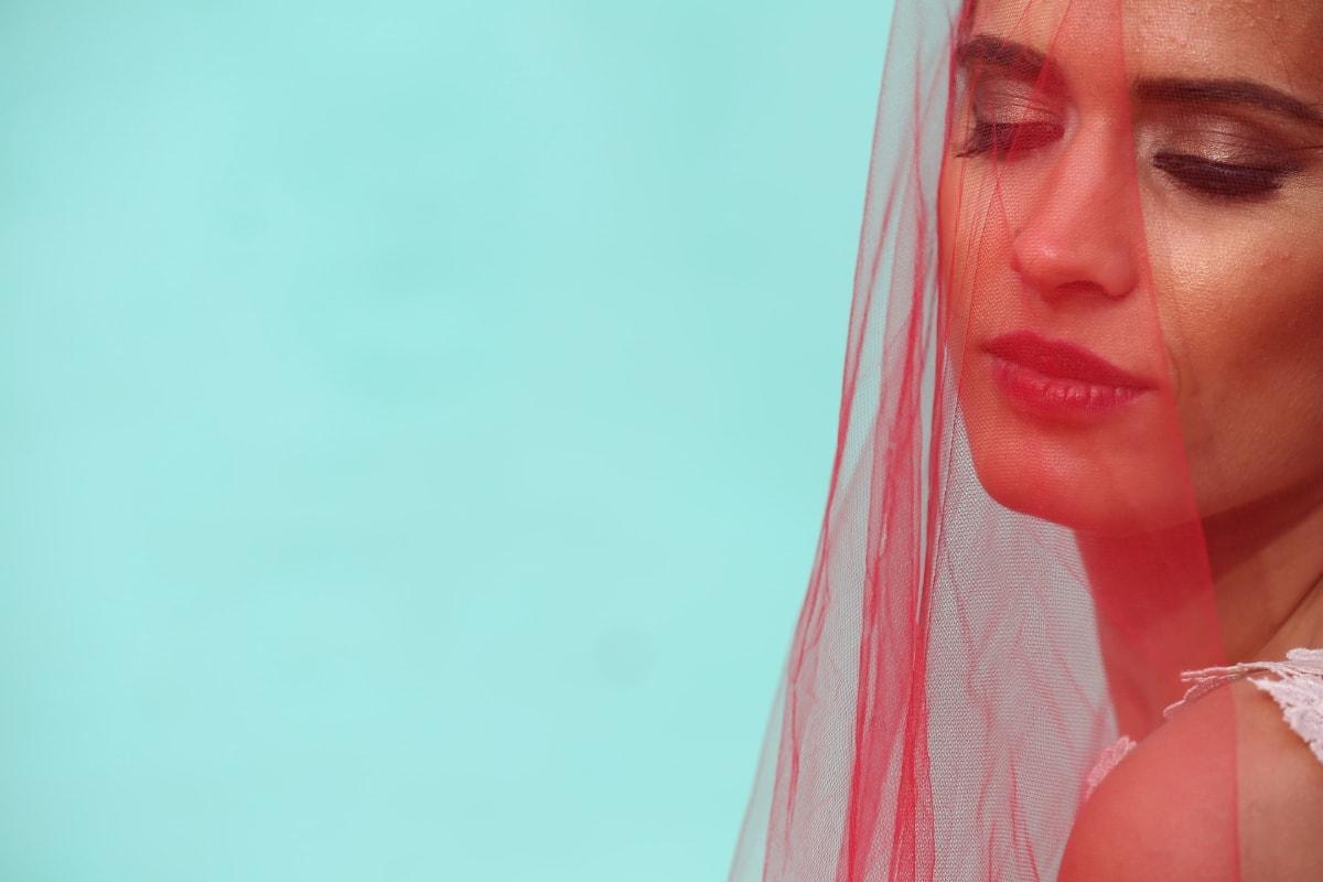 závoj, svadobné šaty, móda, nevesta, červená, koža, atraktívne, tvár, portrét, plastového vrecka