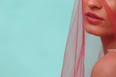 lips, lipstick, veil, skin, woman, skincare, scarf, linen, red, face