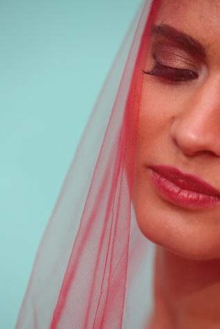 peçe, keten, yüz, eşarp, yakın, genç kadın, moda, kirpik, kadın, ruj