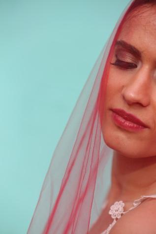 transparente, velo, bufanda de, maquillaje, mujer, nina bonita, cabeza, cosméticos, vertical, moda